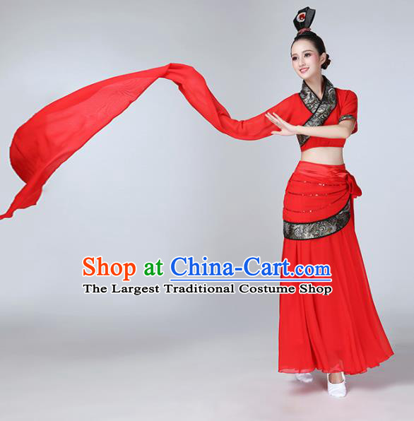 Chinese Traditional Red Water Sleeve Costume Classical Dance Dress for Women