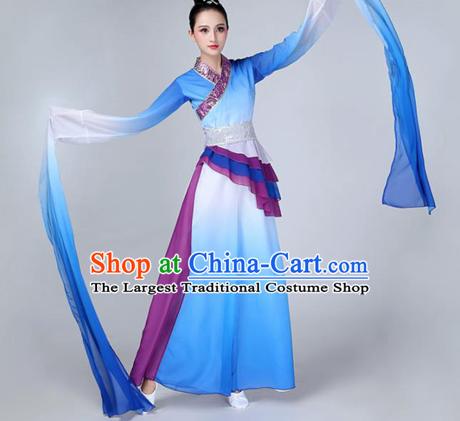 Chinese Traditional Stage Performance Costume Classical Dance Blue Water Sleeve Dress for Women