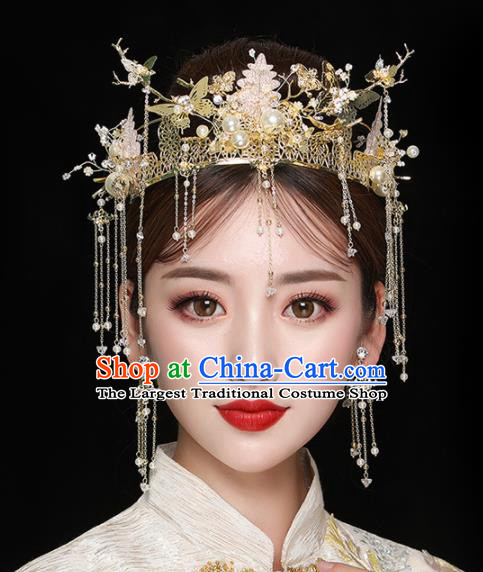 Chinese Ancient Handmade Phoenix Coronet Bride Hairpins Traditional Classical Wedding Hair Accessories for Women