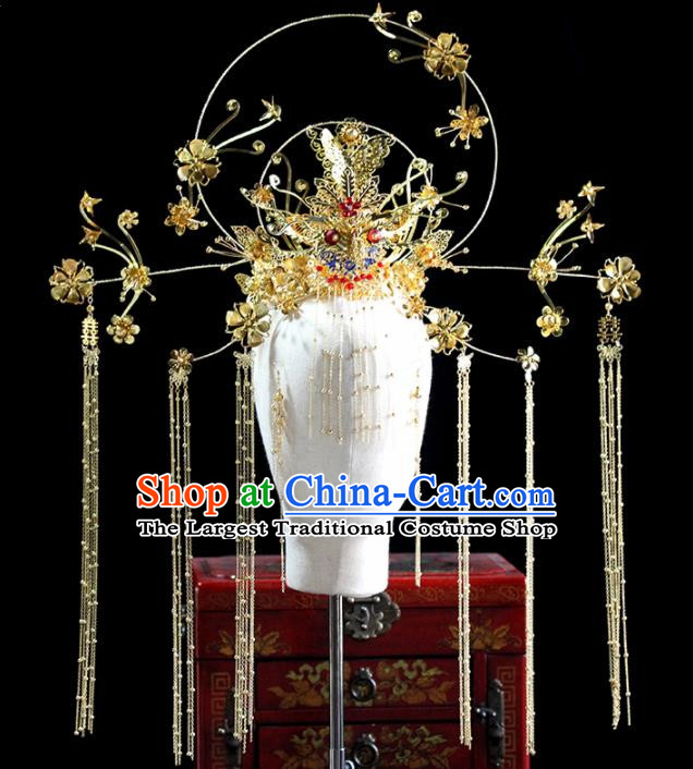 Chinese Ancient Handmade Bride Hairpins Traditional Golden Phoenix Coronet Wedding Hair Accessories for Women