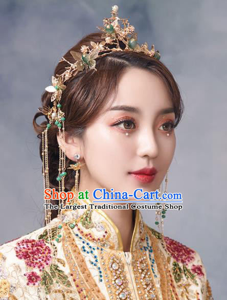 Chinese Ancient Bride Butterfly Phoenix Coronet Hairpins Traditional Wedding Hair Accessories for Women
