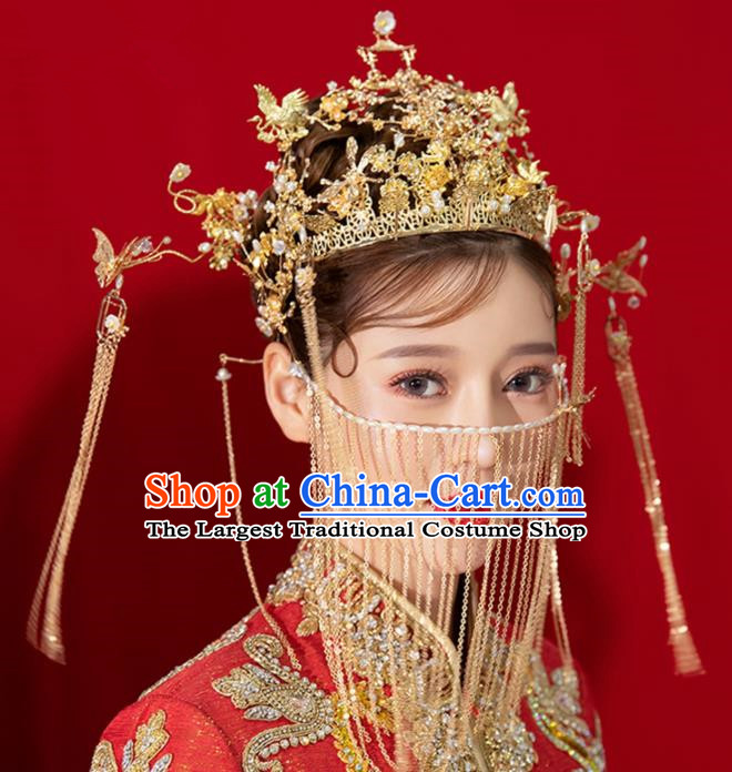 Chinese Ancient Palace Queen Golden Phoenix Coronet Hairpins Traditional Hair Accessories Headdress for Women