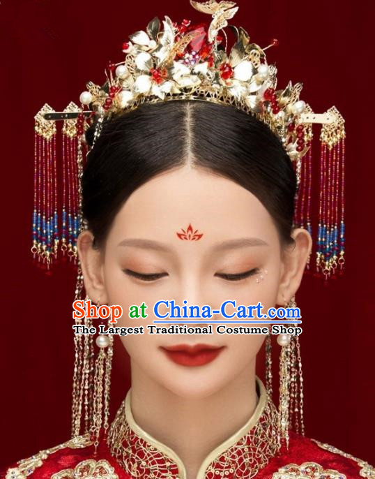 Chinese Ancient Bride Hairpins Red Crystal Tassel Phoenix Coronet Traditional Hair Accessories Headdress for Women