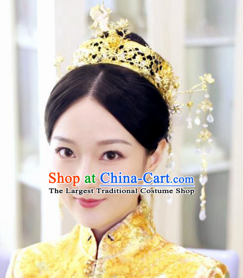 Chinese Ancient Queen Golden Phoenix Coronet Hairpins Traditional Palace Hair Accessories Headdress for Women