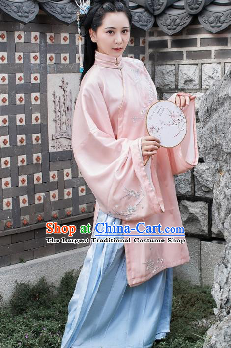 Chinese Traditional Ming Dynasty Imperial Consort Historical Costume Ancient Palace Embroidered Hanfu Dress for Women