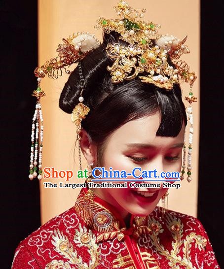 Top Grade Chinese Ancient Bride Hairpins Jade Phoenix Coronet Traditional Hair Accessories Headdress for Women