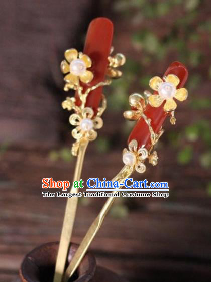 Top Grade Chinese Ancient Bride Agate Hairpins Traditional Hair Accessories Headdress for Women