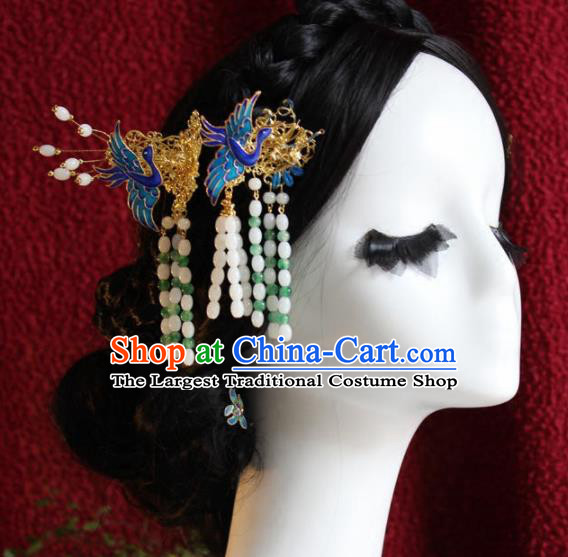 Top Grade Chinese Ancient Bride Wedding Blueing Cranes Hairpins Traditional Hair Accessories Headdress for Women