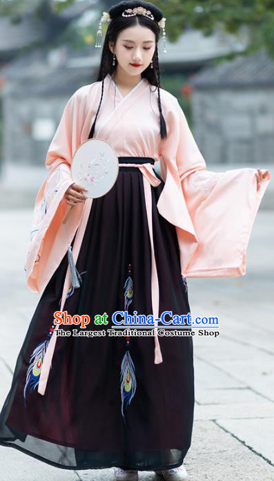 Traditional Ancient Chinese Jin Dynasty Palace Hanfu Dress Princess Embroidered Replica Costume for Women