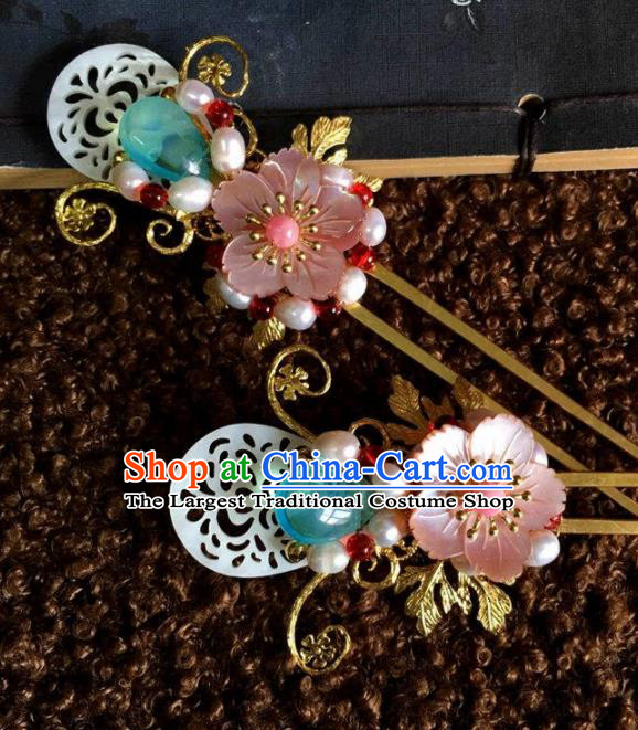 Top Grade Chinese Ancient Bride Wedding Shell Hairpins Traditional Hair Accessories Headdress for Women