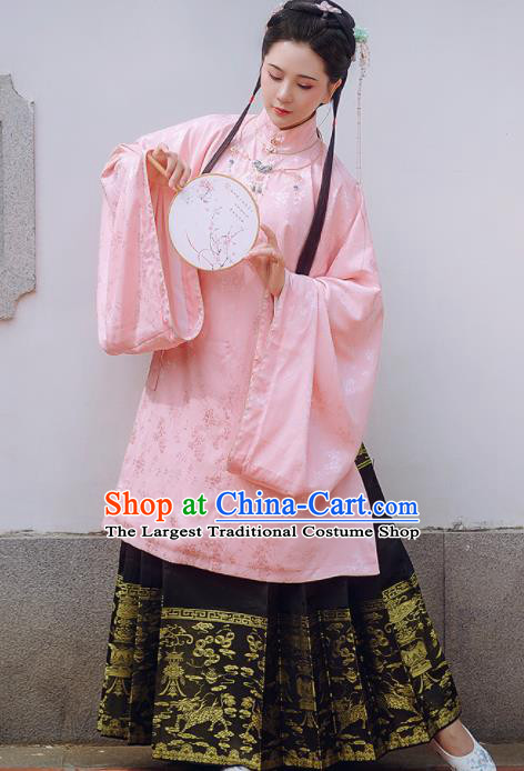 Chinese Traditional Ancient Pink Hanfu Dress Ming Dynasty Palace Lady Historical Costume for Women