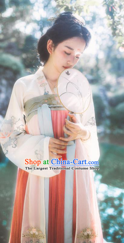 Chinese Tang Dynasty Traditional Historical Costume Ancient Princess Embroidered Hanfu Dress for Women