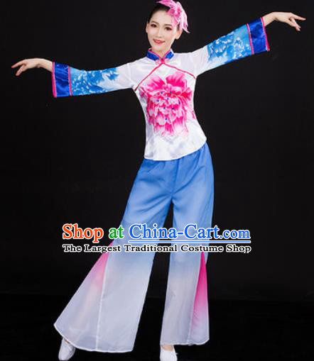 Chinese Traditional Folk Dance Blue Clothing Yangko Group Dance Stage Performance Costume for Women