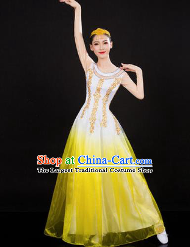 Chinese Traditional Spring Festival Gala Opening Dance Yellow Dress Peony Dance Stage Performance Costume for Women