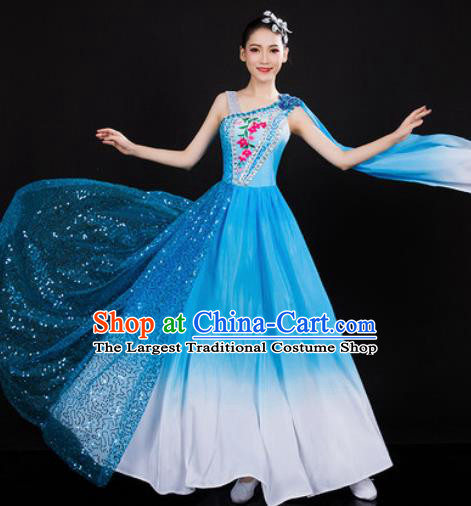Chinese Traditional Spring Festival Gala Opening Dance Blue Dress Peony Dance Stage Performance Costume for Women