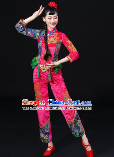 Chinese Traditional Folk Dance Fan Dance Rosy Clothing Group Yangko Dance Stage Performance Costume for Women