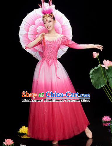 Chinese Traditional Opening Dance Rosy Veil Dress Modern Dance Chorus Stage Performance Costume for Women