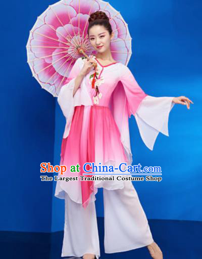 Chinese Traditional Umbrella Dance Pink Dress Classical Jasmine Flower Dance Stage Performance Costume for Women