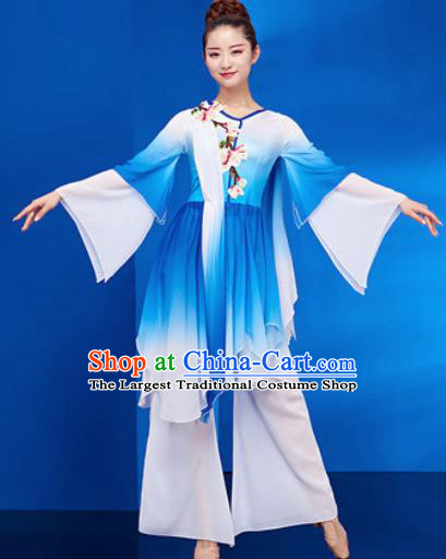 Chinese Traditional Umbrella Dance Blue Dress Classical Jasmine Flower Dance Stage Performance Costume for Women