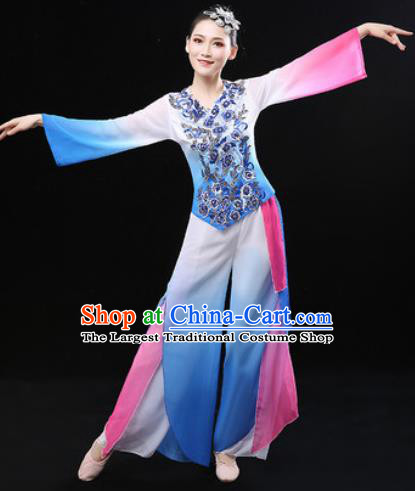 Chinese Traditional Fan Dance Blue Clothing Folk Dance Group Yangko Dance Stage Performance Costume for Women