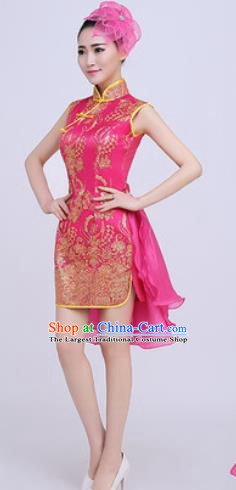 Chinese Traditional Chorus Opening Dance Rosy Qipao Dress Modern Dance Stage Performance Costume for Women
