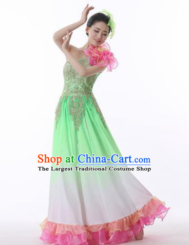 Chinese Traditional Opening Dance Green Dress Modern Dance Stage Performance Costume for Women