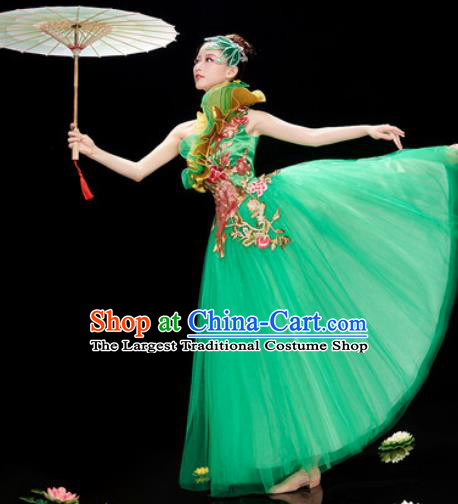Chinese Traditional Opening Dance Green Veil Dress Modern Dance Stage Performance Costume for Women