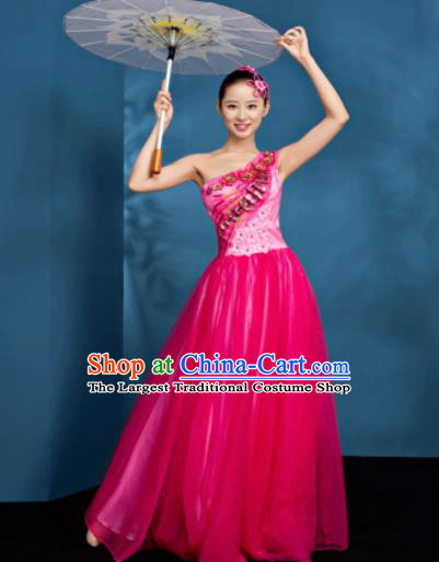 Chinese Traditional Opening Dance Chorus Dress Modern Dance Stage Performance Rosy Costume for Women