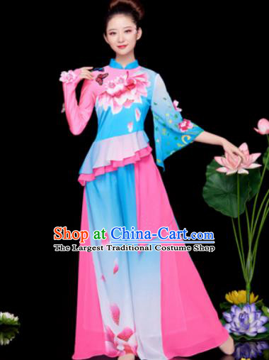 Traditional Chinese Folk Dance Stage Show Blue Clothing Yangko Dance Costume for Women