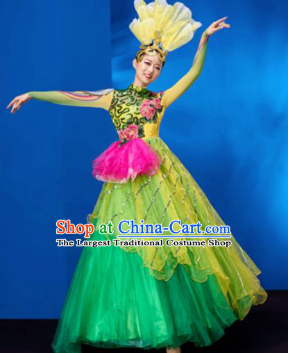 Chinese Traditional Opening Dance Chorus Bubble Dress Modern Dance Stage Performance Costume for Women
