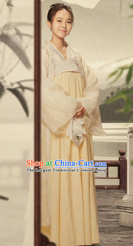 Drama The Story Of MingLan Chinese Ancient Song Dynasty Young Lady Embroidered Historical Costume for Women