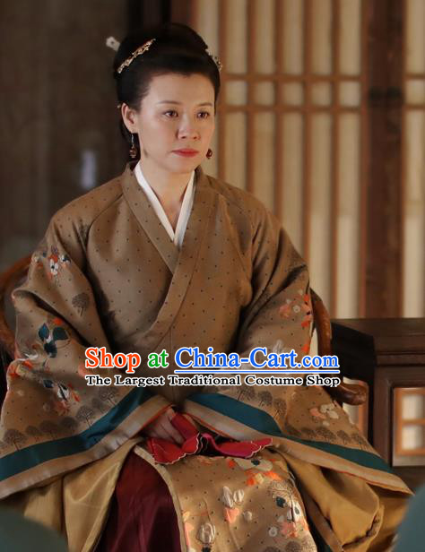 Chinese Drama The Story Of MingLan Ancient Song Dynasty Dowager Countess Embroidered Historical Costume for Women