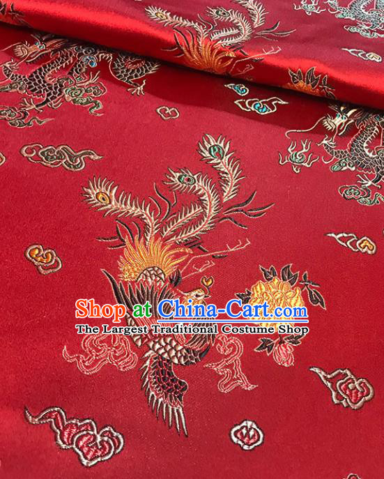 Asian Chinese Royal Dragon Phoenix Pattern Red Brocade Fabric Traditional Silk Fabric Tang Suit Material