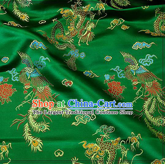 Asian Chinese Royal Dragon Pattern Green Brocade Fabric Traditional Silk Fabric Tang Suit Material
