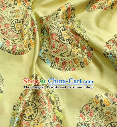 Asian Chinese Royal Round Dragon Pattern Golden Brocade Fabric Traditional Silk Fabric Tang Suit Material