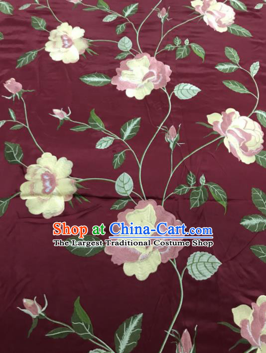 Asian Chinese Royal Embroidered Peony Pattern Wine Red Brocade Fabric Traditional Cheongsam Silk Fabric Material