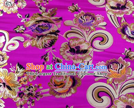 Asian Chinese Traditional Tang Suit Royal Flowers Pattern Rosy Nanjing Brocade Fabric Silk Fabric Material