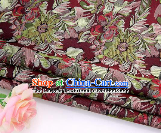 Asian Chinese Traditional Royal Pattern Wine Red Brocade Fabric Tang Suit Silk Fabric Material