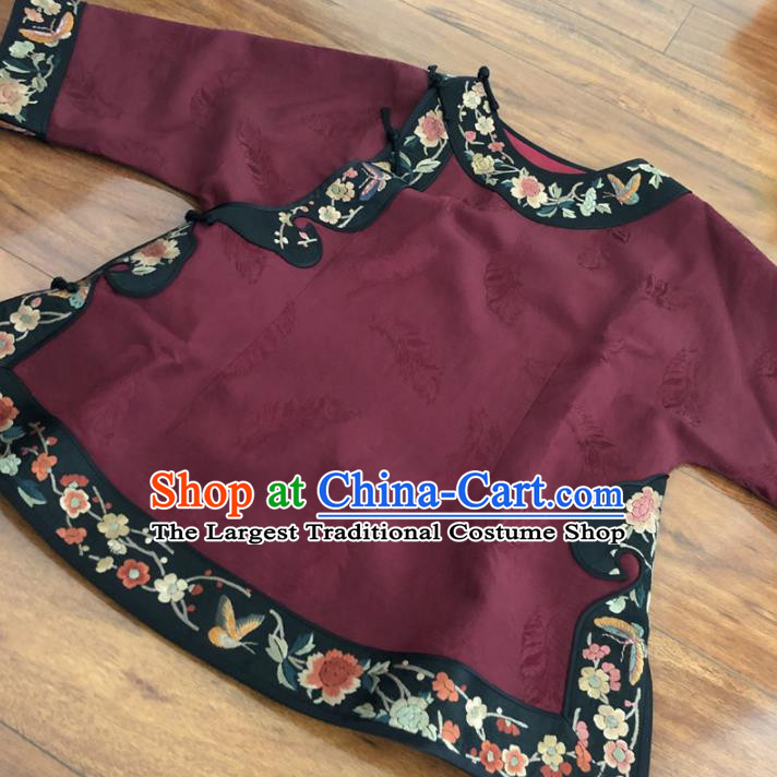 Chinese Traditional Embroidered Costume National Wine Red Silk Qipao Blouse for Women
