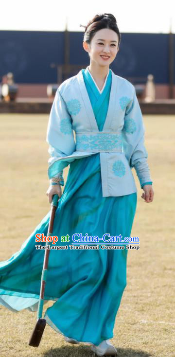 Chinese Ancient Drama The Story Of MingLan Song Dynasty Young Lady Embroidered Riding Costume for Women