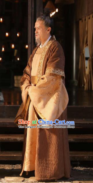 The Story Of MingLan Chinese Ancient Prime Minister Embroidered Historical Costume for Men