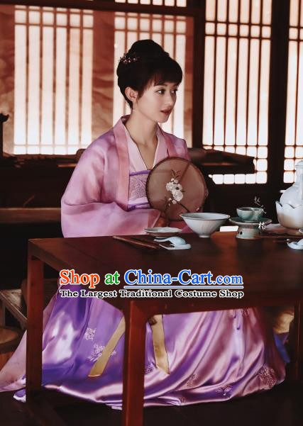 The Story Of MingLan Chinese Ancient Nobility Lady Hanfu Dress Song Dynasty Embroidered Costume for Rich Women