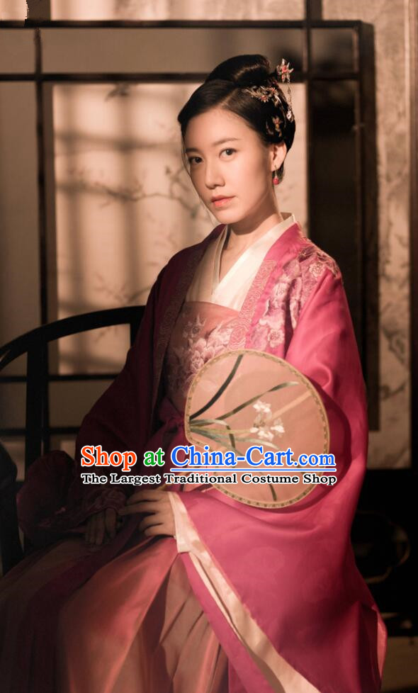 Drama The Story Of MingLan Chinese Song Dynasty Nobility Lady Historical Costume Ancient Concubine Embroidered Hanfu Dress for Women