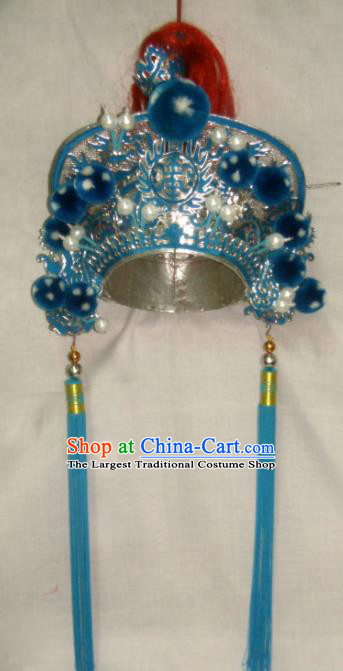 Chinese Traditional Beijing Opera Takefu Helmet Ancient General Hat Headwear for Men