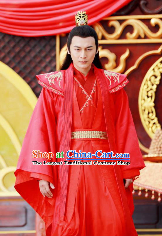 Drama Zhao Yao Chinese Ancient Swordsman Embroidered Wedding Red Replica Costume for Men