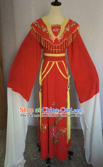 Chinese Traditional Peking Opera Artiste Costume Ancient Court Maid Embroidered Red Dress for Women