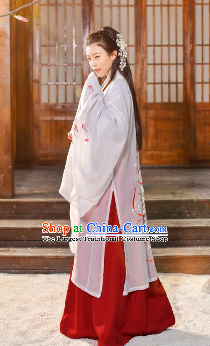Traditional Chinese Jin Dynasty Female Knight Historical Costume Ancient Swordswomen Hanfu Dress for Women
