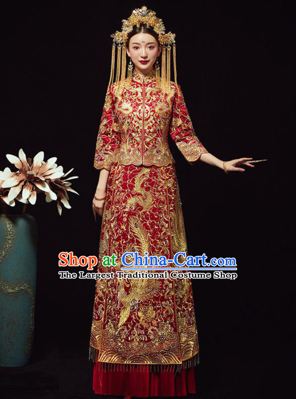Chinese Traditional Bride Diamante Phoenix Xiuhe Suit Ancient Wedding Embroidered Red Dress for Women