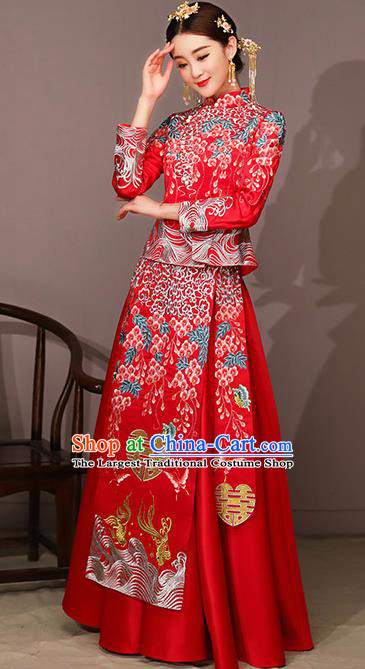 d0e44ebc49 Chinese Traditional Bride Costume Embroidered Xiuhe Suit Ancient Wedding  Dress for Women