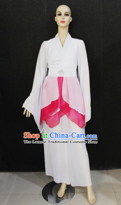 Chinese Traditional Folk Dance Costume National Classical Dance White Dress for Women